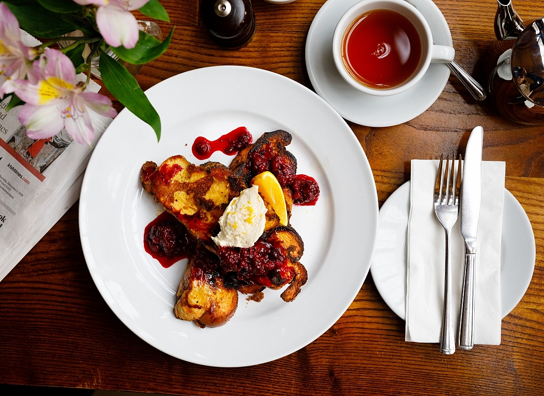 French toast with orange mascarpone and berry compote at the Farmgate Cafe in Cork. Photo Clare O'Rorke