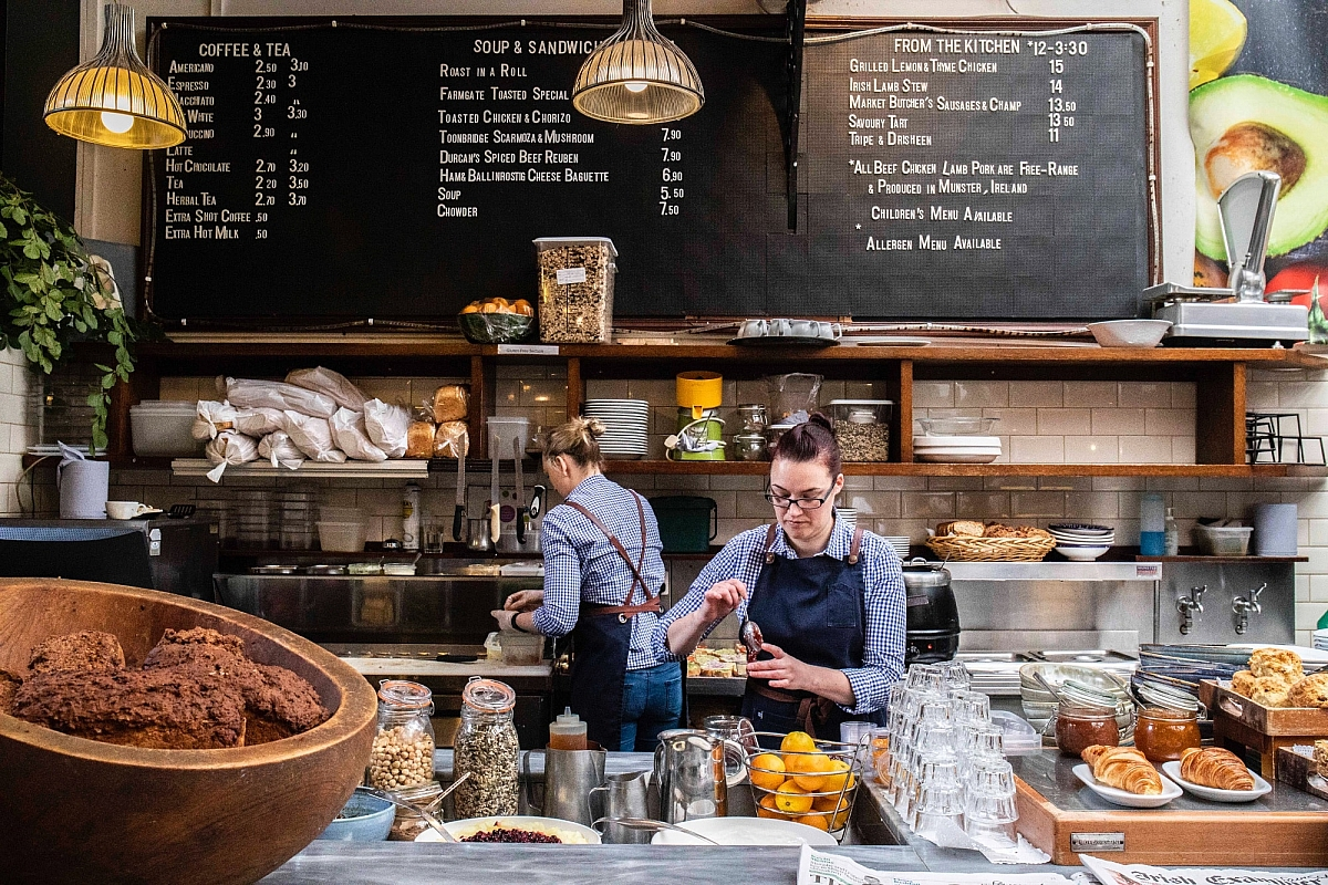 Breakfast service at the Farmgate Cafe upstairs in the English Market in Cork city