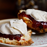 Scone with cream and jam at the Farmgate Café in the English Market Cork. Photo: Clare O'Rourke