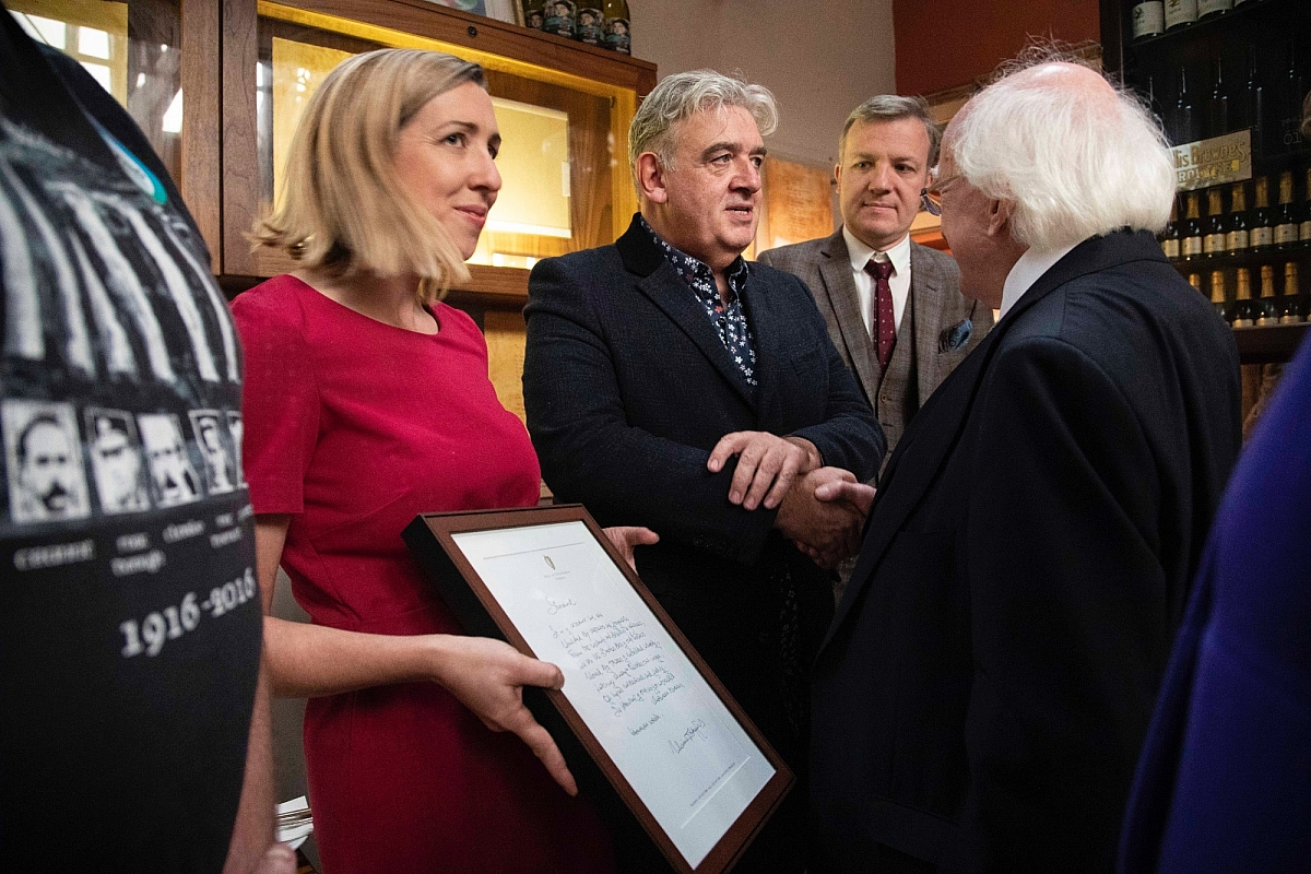 President Michael D Higgins' visit to the Farmgate Cafe in the English Market Cork