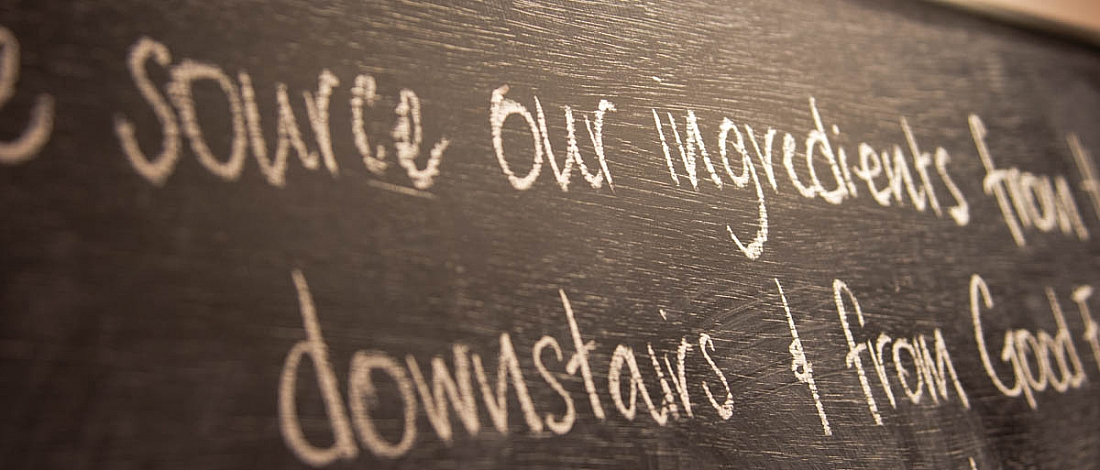 Detail of a chalk-written menu board at the Farmgate Cafe in Cork city