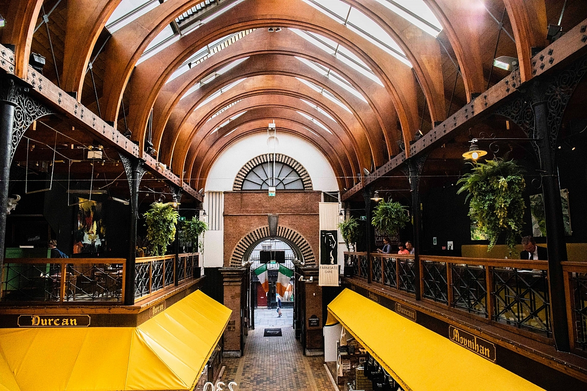 View of the Prince's street entrance of the English Market seen from the balcony of The Farmgate Cafe
