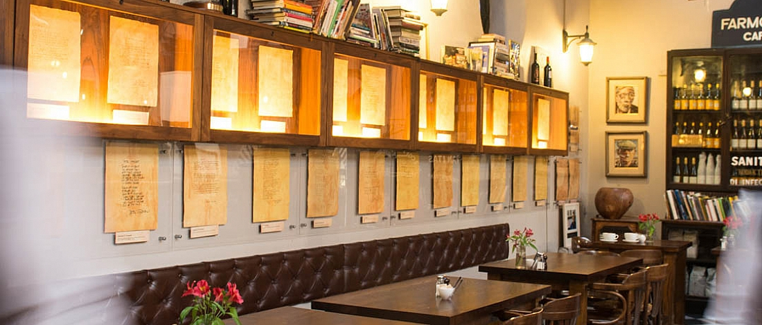 View of the dining room and the poetry wall in the Farmgate Cafe, English Market, Cork